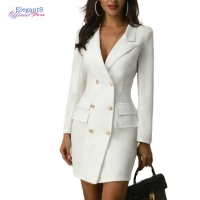 Women Casual Suits Elegant Double Breasted One Piece Dress Suit Office Lady Work Blazer Jacket Long Outwear Autumn Outfit Female