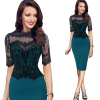 Women Elegant Vintage Lace Peplum See Through Sleeve Casual Party Special Occasion Sheath Fitted Bodycon One Piece Dress Suit