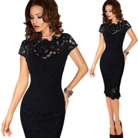 Womens Elegant Sexy Crochet Hollow Out Pinup One Piece Dress Suit Party Evening Special Occasion Sheath Fitted Vestidos Dress