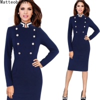 Womens Celebrity Elegant Vintage Ruched Long Sleeve Pinup vestidos Work Office Business Casual Party Fitted Pencil Dress Suit