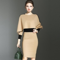 Fashion Elegant Women Dress Suit OL Work Office Lady Formal Business Wear Bodycon Slim Vintage Cape Coat Two Piece Set Outfit