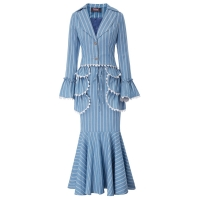 Womens 3pcs Set Suit Coat+Skirt+Apron flare sleeve lace striped evening party Retro Vintage Edwardian Stripe Pattern ladies Set