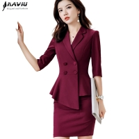 Professional fashion female skirt suits 2019 new Business formal half sleeve blazer and skirt office lady interview work wear