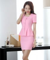 New Style 2019 Women Business Suits 2 Piece Skirt and Top Sets Pink Jacket Short Sleeve Office Ladies Work Wear Uniforms
