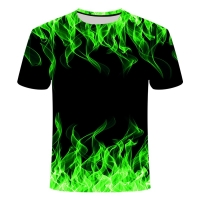 Blue Flaming tshirt Men Women t shirt 3d t-shirt Black Tee Casual Top Anime Camiseta Streatwear Short Sleeve Tshirt Asian size