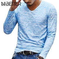2020 Autumn Slim Streetwear  V neck T Shirt Men Casual Fitness Tops&Tees Vintage Blue Long Sleeve Pullover shirt Homme Plus Size