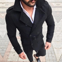 Retro Woolen Jacket Men  Wool Warm Trench Coat Jackets Double Breasted Fashion Male Winter Autumn Overcoat