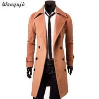 WENYUJH Mens Trench Coat Brand Autumn Long Jacket Top Quality Slim Black Male Overcoat Mens Khaki Coat Trenchcoat Windbreaker