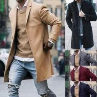 New Arrival Winter Fashion Men Slim Fit Long Sleeve Cardigans Blends Coat Jacket Suit Solid Mens Long Woolen Coats