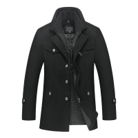 New men's winter padded wool jackets coats removable quilted lining button wool blends pea coat thick padded jacket coat men