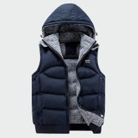 Fashion Sleeveless Jacket Mens Thickening Cotton Vest Hat Hooded Warm Vest Winter Male Waistcoats Men Casual Windbreakers ML049