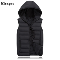 2019 New Spring Autumn Sleeveless Jacket for Men Fashion Warm Hooded Male Winter Vest Light Plus Size Mens Work Vests Waistcoat