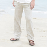 2019 Casual Pants for Men Cotton Linen Straight Trousers White Linen Elastic Waist Leisure Beach Man's Full Pants Plus Size