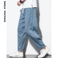Sinicism Store Plus Size Cotton Linen Harem Pants Mens Jogger Pants 2019 Male Casual Summer Track Pants Trousers