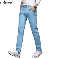 Men's Cotton Slim Casual Pants Men Leisure Straight Trousers Fashion Business Solid Long Leg Pencil Pant Pantalon Hombre Homme