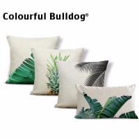 Tropical Pineapple Cushion Cover Landscape Green Pillow Banana Leaves Pop Art For Sofa Fruit Pine Nuts 45*45 Cotton Linen Custom