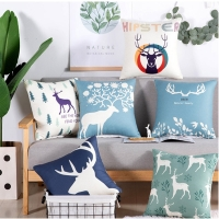 2019 Nordic Pop Nordic Style Elk Deer Cushion Covers Pillow Cases Pillow Covers Bedroom Sofa Christmas Decoration 45*45cm
