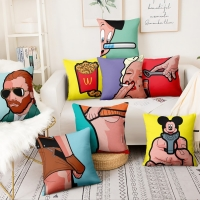 American Pop Art Funny People Printed Cushion Decorative Pillow Cartoon Illustrations Home Decor Sofa Throw Pillow 45*45cm