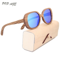 POP AGE Wood Sunglasses Women Oversized Gradient Polarized Sunglasses Women Brand Designer Oculos De Sol Feminino GB031
