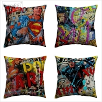 Superhero Pop Art Modern Print Cotton Linen Cushion Cover 45 x 45 cm For Sofa Chair Pillow Case Home Decor Almofada