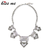 Euramerican Pop Geometric Exaggerated Hollow Out Crystal Choker Necklace Factory Wholesale