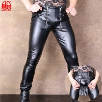 Sexy Men Plus Size Open Crotch Pencil Pants PU Faux Leather Punk Pants  Elastic Tight Trousers Erotic Lingerie Club Gay Wear F13