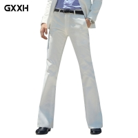 2019 New Men's Flared Trousers Formal Pants Bell Bottom Pant Dance White Suit Pants Size 28-30 31 32 33 34 36 37