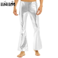 iiniim Adult Mens Punk Night Club Wear Pants Shiny Metallic Disco Pants with Bell Bottom Flared Long Pants Dude Costume Trousers