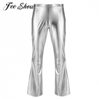 Adult Mens Fashion Shiny Metallic Holographic Pants with Bell Bottom Flared Disco Long Pants Dude Costume Trousers