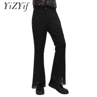 Black Professional mens Disco Dance Pants Mens Ballroom Dance Pants Flares trousers male Modern dance bell-bottom trousers