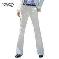 2020 New Men's Flared Trousers Formal Pants Bell Bottom Pant Dance White Suit Pants Formal pants for Men Size 28- 37
