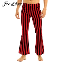 Mens 60s or 70s Retro Vintage Mid Waist Long Pants Club Wear Stripe Printed Stretch Bell Bottom Super Flares Long Pants Trousers