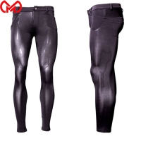Men Shiny Sheer Pencil Pants Ice Silk See Through Elastic Tight Trousers Silky Pencil Pants Erotic Lingerie Gay Wear Plus Size