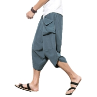 Hot sale 2018 summer Linen Hip Hop Harem Pants Men Casual Loose Trousers  Drawstring Cross Bloomers Pants Joggers size  M-5XL