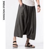 Sinicism Store Cotton Linen Harem Pants Mens Male Summer Casual Wild-Leg Pants 2020 Baggy Loose Trousers Flare Pants