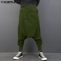 INCERUN Men Pants Elastic Waist Drawstring Low Drop Crotch Hiphop Harem Joggers Sweatpants Pants Men Trousers Fashion Clothing