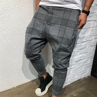 Men Vintage Plaid Casual Pencil Pants Man Boys Side Striped Drawstring Trousers Pockets Loose Harem Sweatpant Plus Size M-3XL