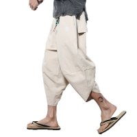 2019 Men Crotch Harem Pants mens Summer Baggy Cotton Trousers Male Wild-leg Loose linen Calf-Length Pants Crotc Bloomers Pants