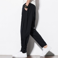 Chinese Style 2020 summer Autumn cotton linen trousers drawstring waist men pants casual trousers with button Large Size M-6XL