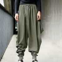 Japan Style S-5XL Samurai  Cross-Pants Men Drop Crotch Loose Cotton Harem Pants Baggy Sweatpants Hiphop Dance Loose Trousers