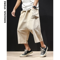 Sinicism Store Summer 5XL Wide Crotch Harem Pants Mens Broad Leg Baggy Pants 2020 Male Casual Big Pocket Cotton Linen Trousers
