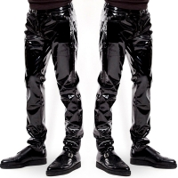 New Mens Elastic Faux Leather PVC  Pants Motorcycle Ridding Black Slim Fit Dance Party Trousers Biker Leather Pants For Male