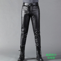 Summer Mens Business Slim Fit Stretchy Black Faux Leather Pants Male Elastic Tight Trousers PU Leather Shiny Pencil Pants 71002