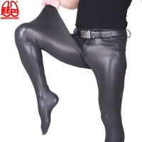 Sexy Men Full Leg Length PU Shiny Pencil Pants Tight Elastic Tight Trousers Faux Leather  Glossy Punk Pencil Pants Gay Wear F89