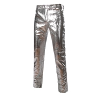 Side Zipper Design Moto Jeans Style Metallic Gold Silver Trousers Casual Motorcycle PU Leather Shiny Pants for Singers Dancers