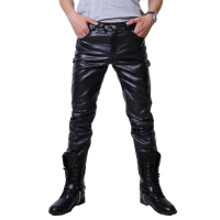 2016 Hip Hop Mens Leather Pants Faux Leather Pu Material 3 Colors Motorcycle Skinny Faux Leather Casual Pants