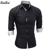 BOLUBAO New Men Long Sleeve Casual Shirt Male Solid Color Slim Fit Fashion Tuxedo Shirt Mens Brand High Quality Dress Shirts
