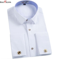 BIANYILONG Men French Cuff links Shirt 2020 New Long Sleeve Casual Male Brand Slim Fit French Cuff Marry Dress Men Shirt
