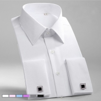 French Cuff Mens Formal Business Dress Shirt Solid Twill Men Party Wedding Tuxedo Shirts with Cufflinks Chest Pocket