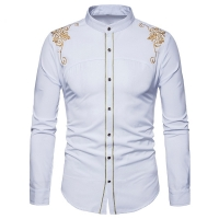 feitong men's shirts vintage embroidery down fashion hipster fit long sleeve button tops winter cotton lightweiht shirt#g10